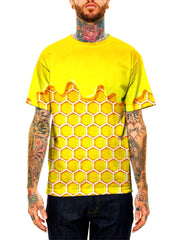 Model wearing GratefullyDyed Apparel yellow & gold dripping honeycomb unisex t-shirt.