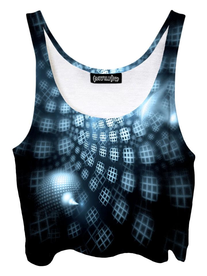 Trippy front view of GratefullyDyed Apparel black & blue geometric light show fractal crop top.