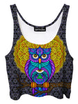 visionary mandala owl art crop top - travis garner