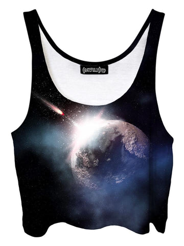 Trippy front view of GratefullyDyed Apparel black & gray dark planet galaxy crop top.