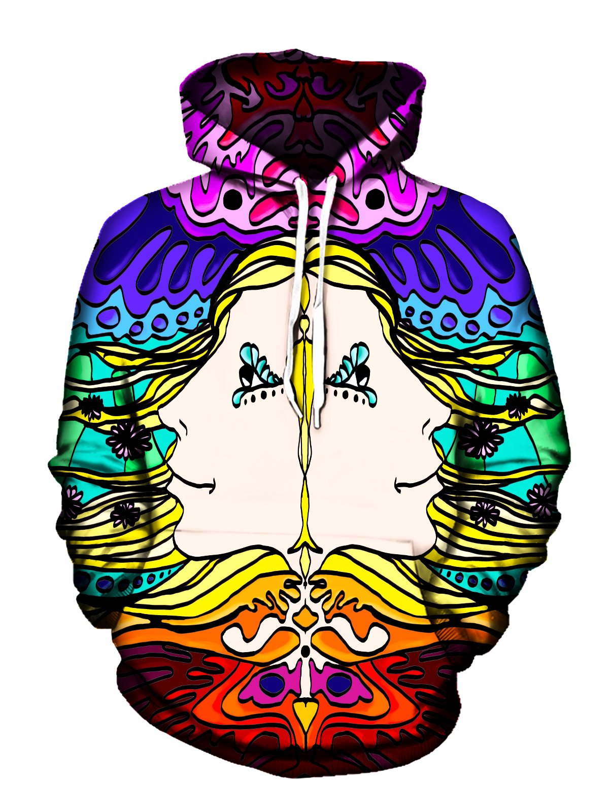 Men's rainbow background with mirrored face psychedelic artwork pullover hoodie front view.