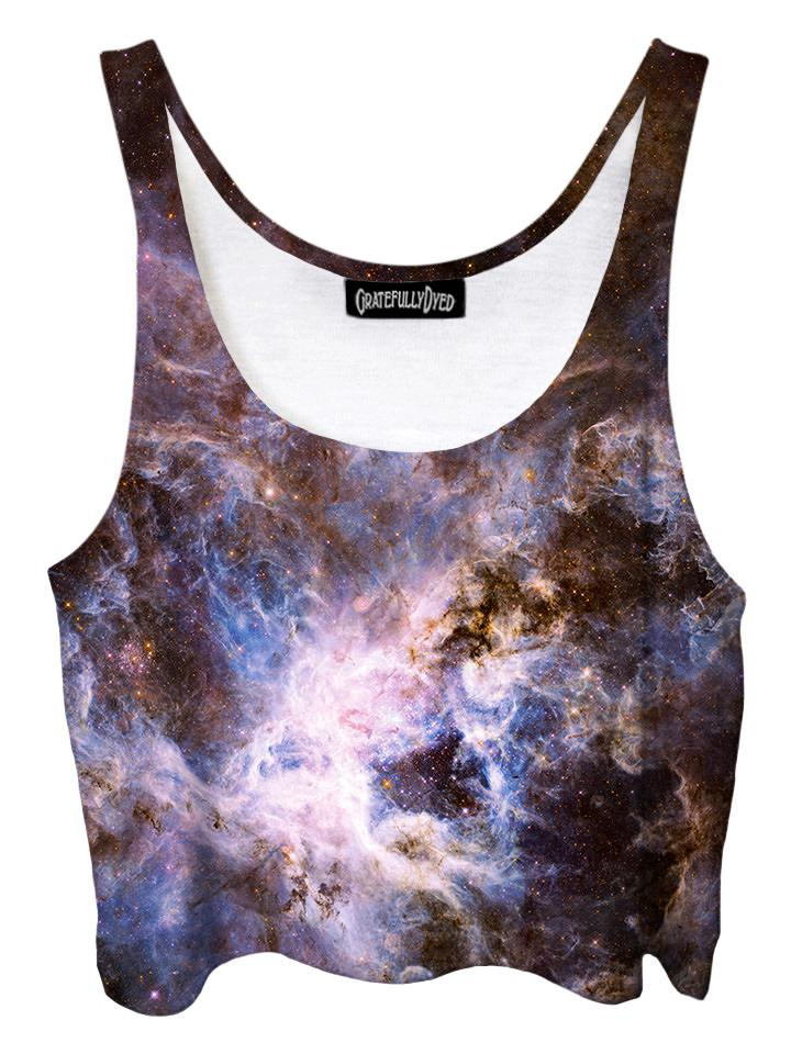 Trippy front view of GratefullyDyed Apparel purple & blue pastel galaxy crop top.