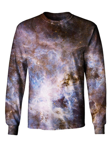 Gratefully Dyed Apparel purple & blue pastel galaxy unisex long sleeve front view.