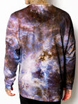 Model back view of all over print psychedelic space unisex longsleeve.