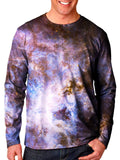 Front view of model wearing Gratefully Dyed Apparel pastel galaxy unisex long sleeve.