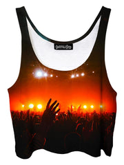 Trippy front view of GratefullyDyed Apparel red & black concert light show crop top.