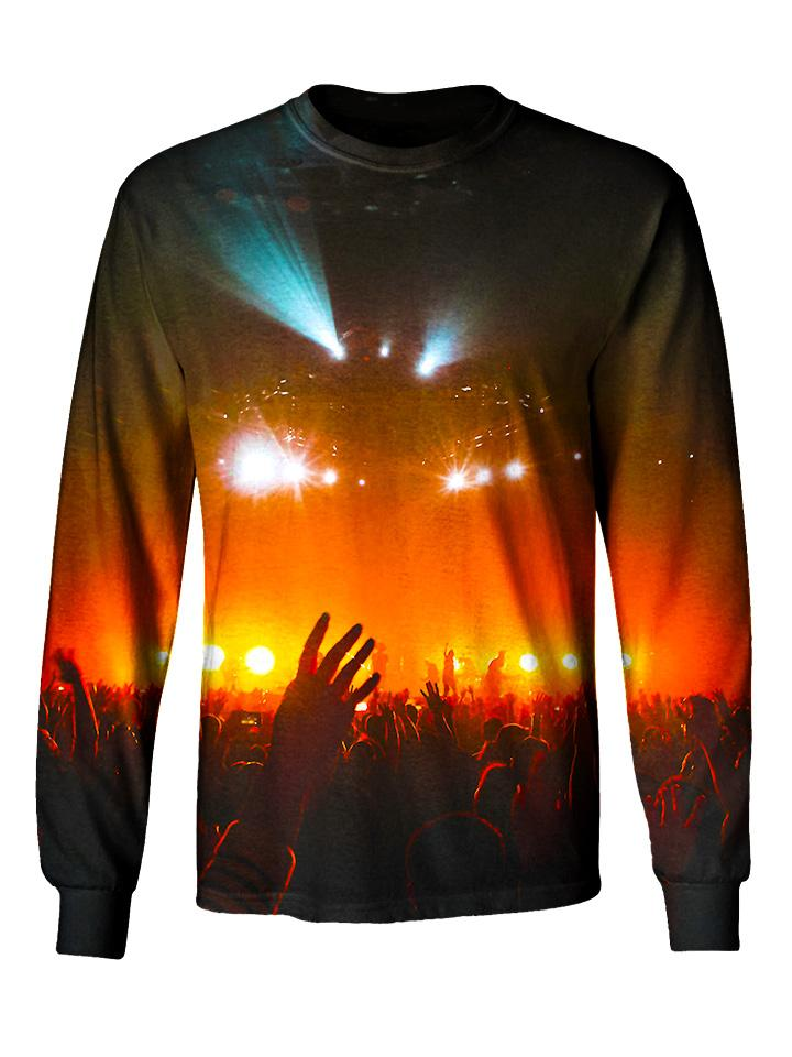 Gratefully Dyed Apparel red & black concert light show unisex long sleeve front view.