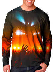 Front view of model wearing Gratefully Dyed Apparel concert light show unisex long sleeve.