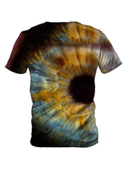 Back view of all over print psychedelic eye t shirt by Gratefully Dyed Apparel.