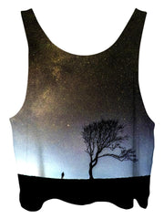 All over print psychedelic space cropped top by Gratefully Dyed Apparel back view.