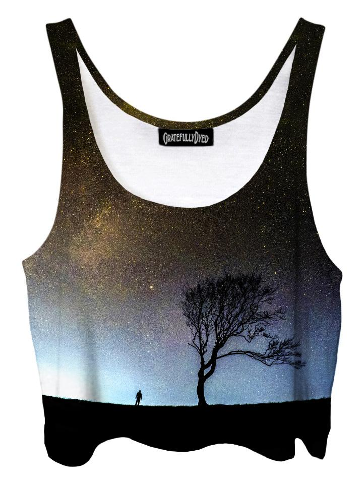 Trippy front view of GratefullyDyed Apparel black & gray tree galaxy crop top.