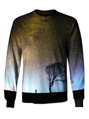 Gratefully Dyed Apparel gray galaxy with black tree unisex long sleeve front view.