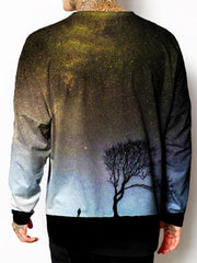 Model back view of all over print psychedelic tree space unisex longsleeve.