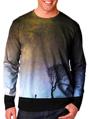 Front view of model wearing Gratefully Dyed Apparel gray galaxy & black tree long sleeve.