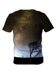 Back view of all over print psychedelic space nature t shirt by Gratefully Dyed Apparel.