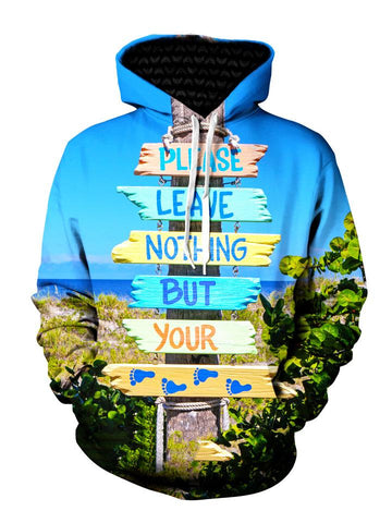"Men's ""Leave Nothing But Your Foot Prints"" beach bum pullover hoodie front view."