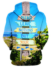 Rear of women's beach scene with slogan hoody.