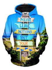 Women's front view of trippy ocean beach bum pullover hoodie.