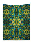 Vertical hanging view of all over print green & blue mandala tapestry by GratefullyDyed Apparel.