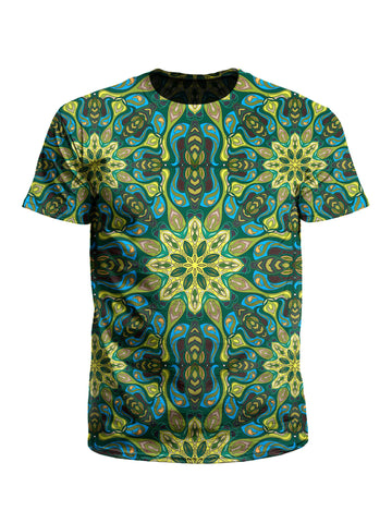 Men's green & blue mandala unisex t-shirt front view.