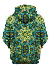 Rear of green & blue psychedelic mandala zip-up hoody.