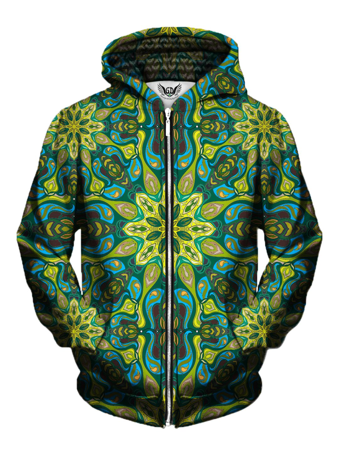 Men's green & blue psychedelic mandala zip-up hoodie front view.