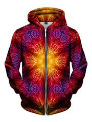 Men's red, orange, yellow & purple electric fire mandala zip-up hoodie front view.