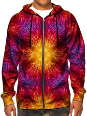 Model wearing GratefullyDyed Apparel psychedelic electric fire mandala zip-up hoodie.