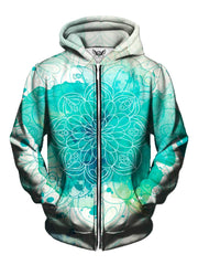 Men's blue & white watercolor mandala zip-up hoodie front view.