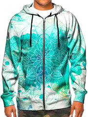 Model wearing GratefullyDyed Apparel psychedelic blue watercolor mandala zip-up hoodie.