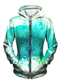 Front view of women's all over print mandala zip up hoody by Gratefully Dyed Apparel.
