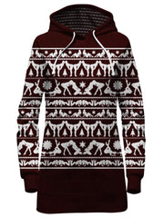 Maroon Naughty Christmas Hoodie Dress Front