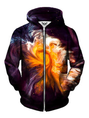 Men's black, orange & white psychedelic spiral marbling zip-up hoodie front view.