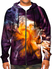 Model wearing GratefullyDyed Apparel psychedelic black, orange & white marble painting zip-up hoodie.