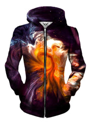 Front view of women's all over print marbled paint zip up hoody by Gratefully Dyed Apparel.