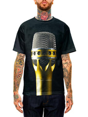Model wearing GratefullyDyed Apparel black, silver & gold concert mic unisex t-shirt.