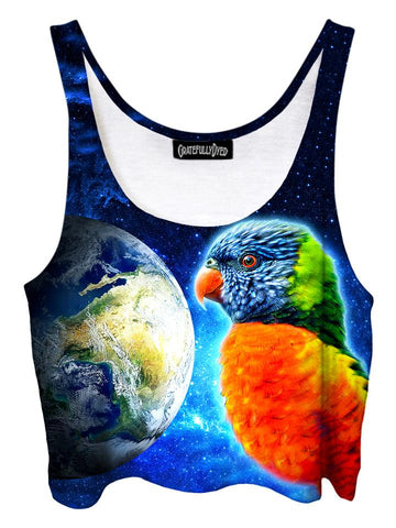 Trippy front view of GratefullyDyed Apparel blue, orange & green parrot planet galaxy crop top.