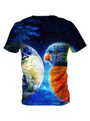 Back view of all over print psychedelic galaxy bird t shirt by Gratefully Dyed Apparel.