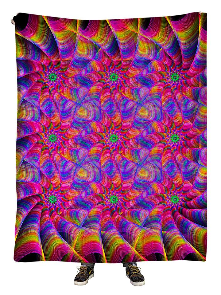 Hanging view of all over print pink & rainbow flower fractal mandala blanket by GratefullyDyed Apparel.