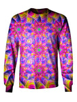 Gratefully Dyed Apparel pink & rainbow flower fractal unisex long sleeve front view.