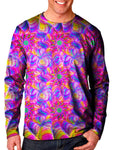 Front view of model wearing Gratefully Dyed Apparel rainbow flower fractal unisex long sleeve.
