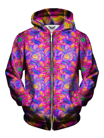 Men's rainbow flower fractal zip-up hoodie front view.
