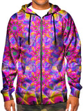 Model wearing GratefullyDyed Apparel psychedelic rainbow flower fractal zip-up hoodie.