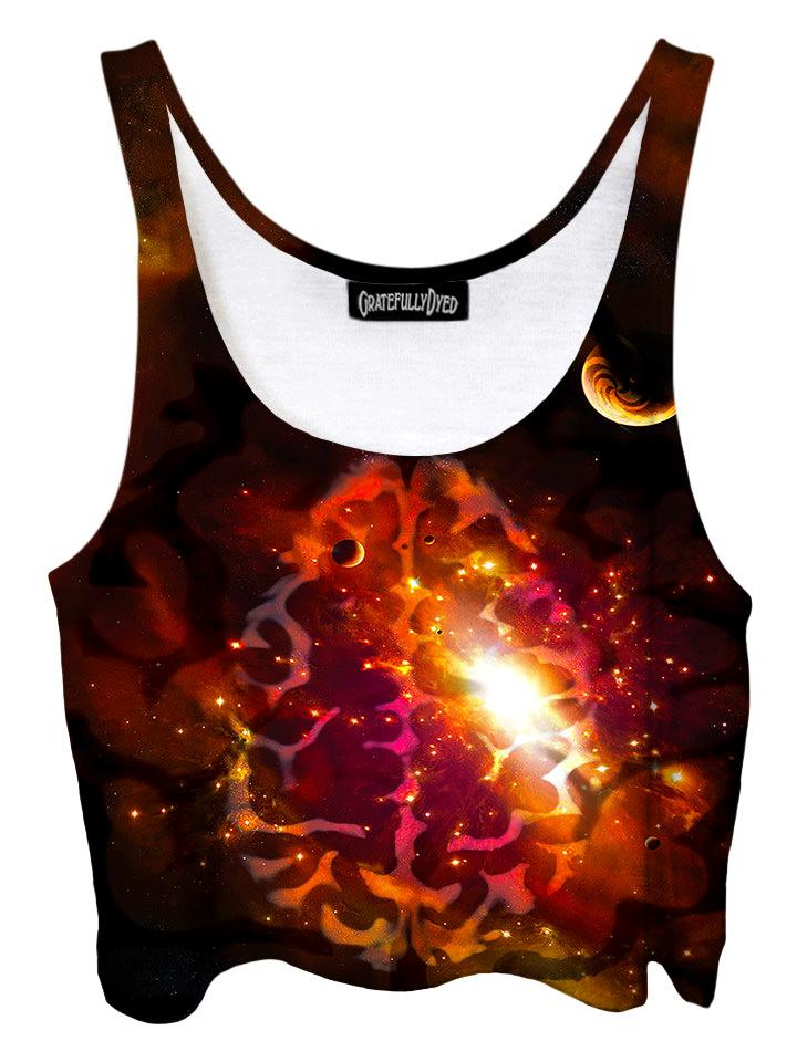 Trippy front view of GratefullyDyed Apparel red & black brainstorm galaxy crop top.