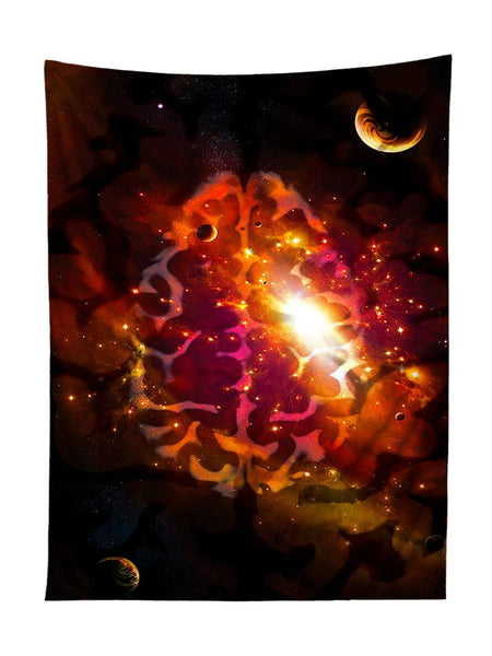Vertical hanging view of all over print red & black brainstorm galaxy tapestry by GratefullyDyed Apparel.