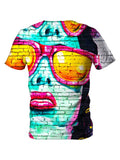 Back view of all over print psychedelic urban street art t shirt by Gratefully Dyed Apparel.