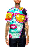 Model wearing GratefullyDyed Apparel teal & pink graffiti portrait unisex t-shirt.