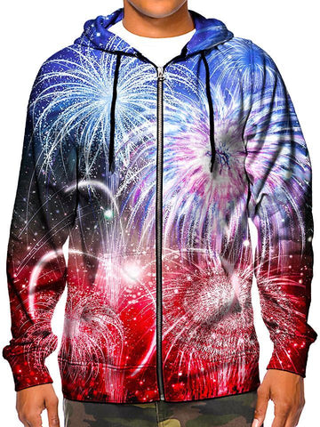 Rustic Fireworks All Over Print Zip Up Hoodie Front View