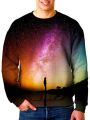 Model In Multi Colored Galaxy Sweater Front View