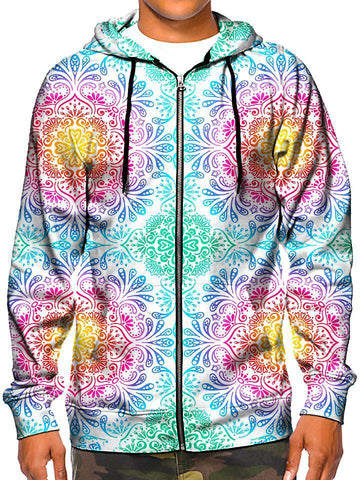 Model In Beautiful Pastel Flower Zip Up Hoodie